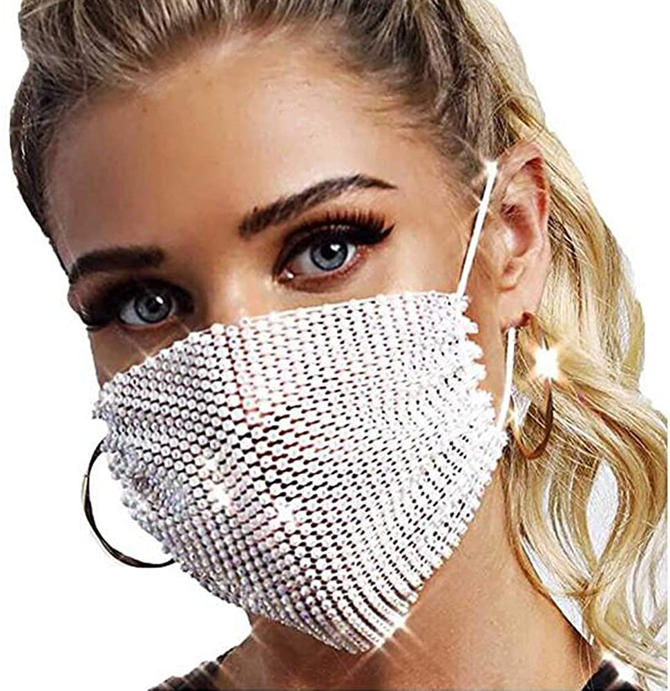 Sparkly Rhinestone Mesh Face Masks for Women Girls for Halloween Party Crystal Masquerade Nightclub Face Cover