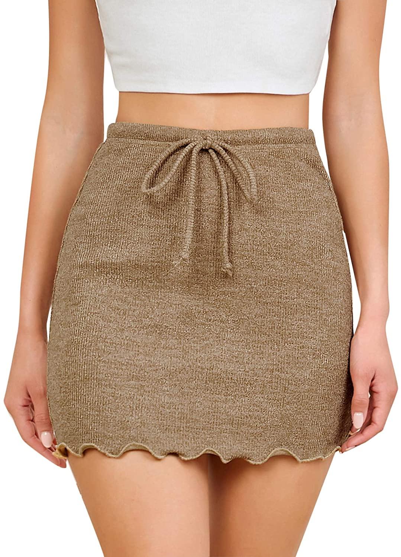 Verdusa Women's Drawstring Waist Lettuce Trim Rib Knitted Bodycon Short Skirt