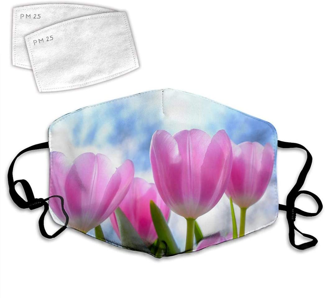 QWOPLK Tulip Flowers Plant 3D Print Pattern Adjustable Comfortable Face Decorations Can Be Washed and Reused Unisex