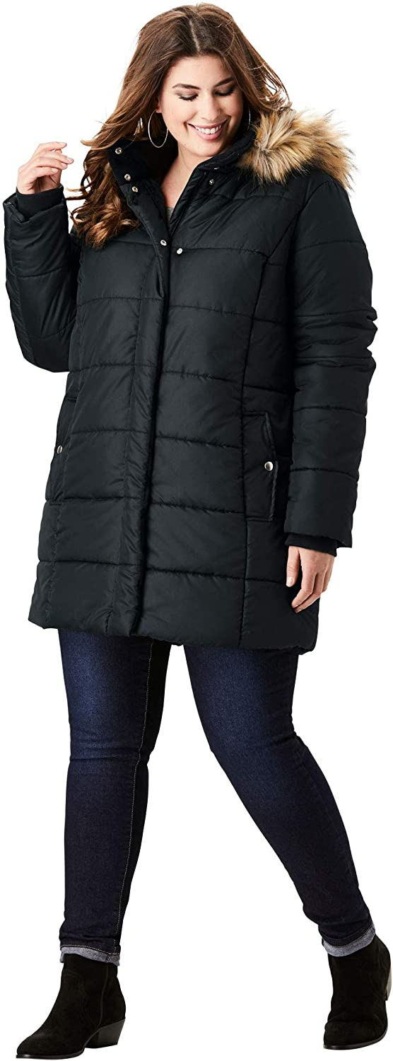 Roamans Women's Plus Size Classic-Length Quilted Parka with Hood Winter Coat