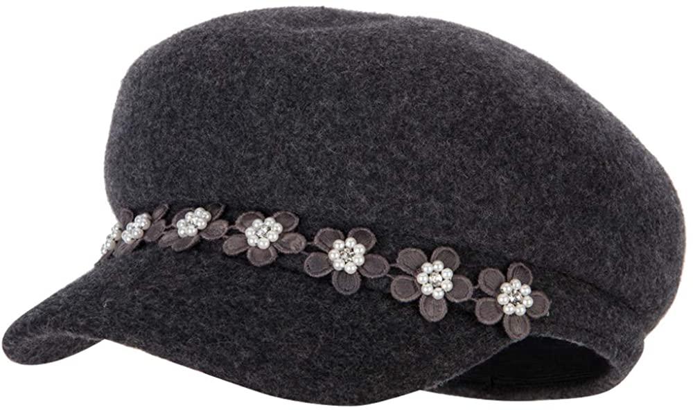 Jeanne Simmons Women's Flower Band Accented Wool Felt Newsboy Cap
