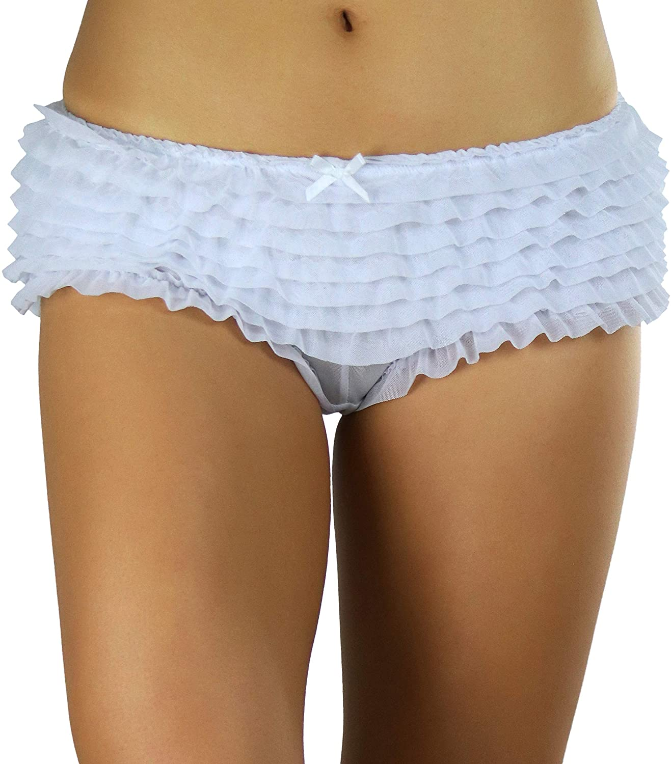 ToBeInStyle Women's Soft Chiffon Ruffle Trim Cheeky Panties Boyshort