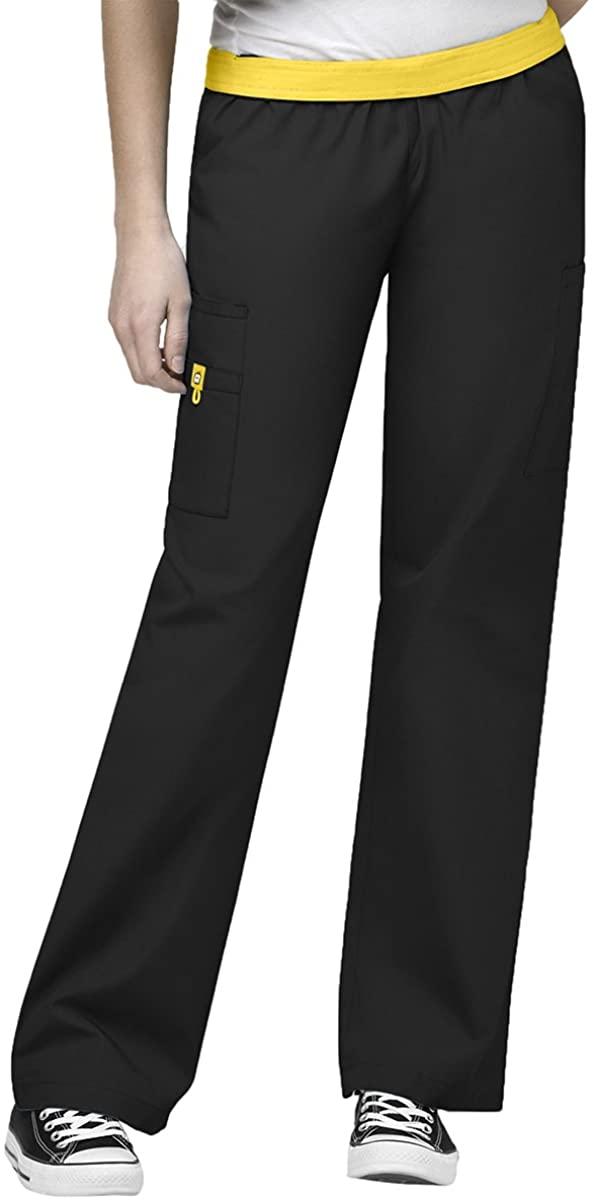 Origins Women's Quebec 5016 Elastic Waist Cargo Scrub Pant by WonderWink- Black- Medium
