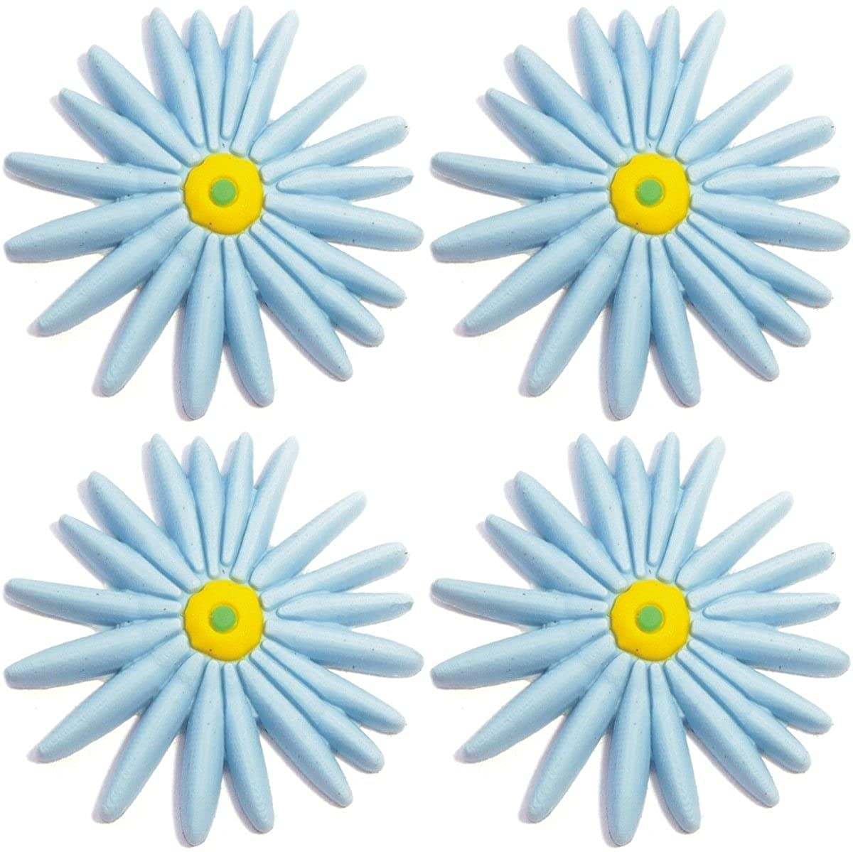 Four (4) of Flower Light Blue Rubber Charms for Wristbands and Shoes