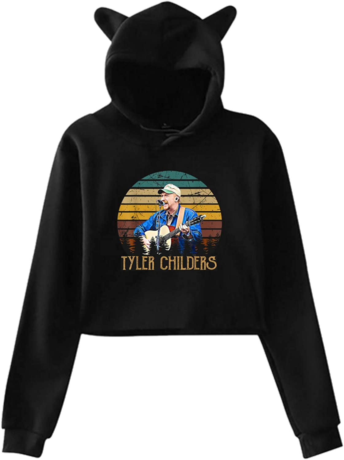 tyler childers Cat Ear Hoodie Sweater Hooded Pullover Girls Women Leak Navel Sweatshirt