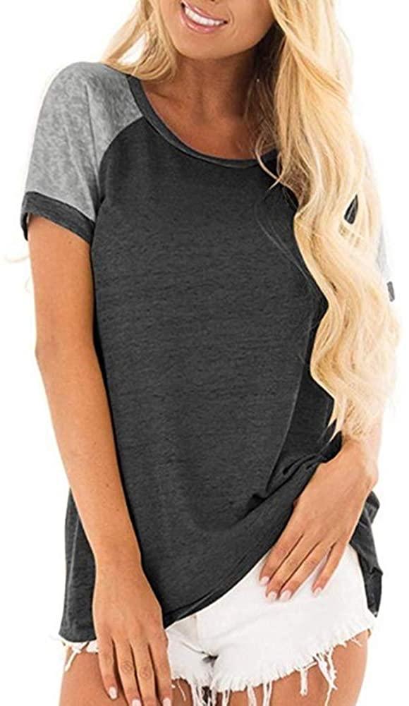 Women's Summer Short Sleeve Top, Casual Round Neck Colorblock Short Sleeve Tunic Blouse Dark Gray