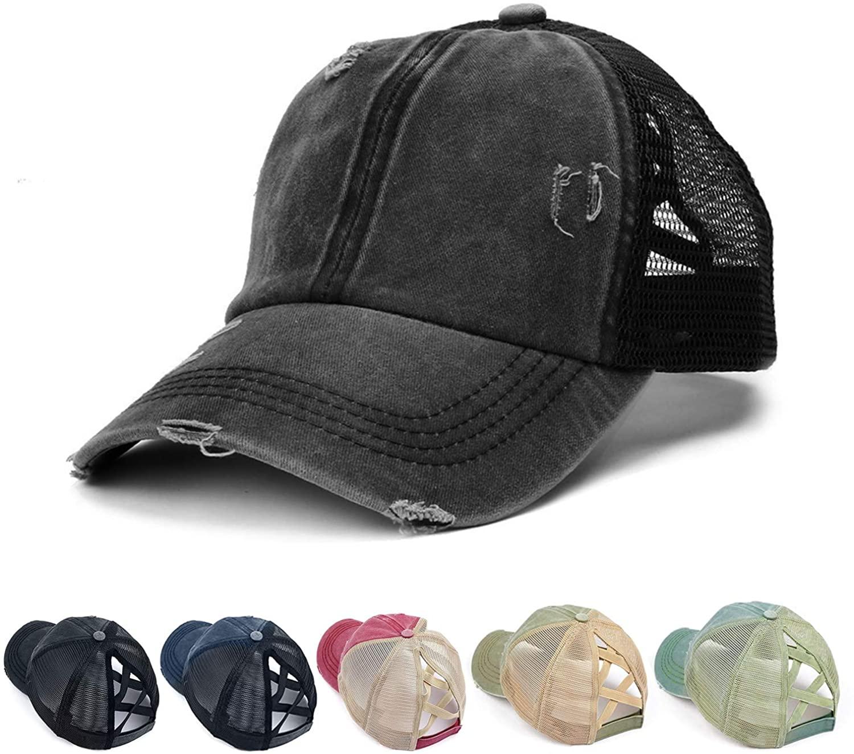 Enfudid Ponytail Baseball Hat Cotton Denim Trucker Hat Adjustable Baseball Cap Messy Bun