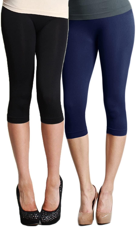 LVG Womens Solid Capri Leggings Multi Pack Made in The USA. (Black/Navy)