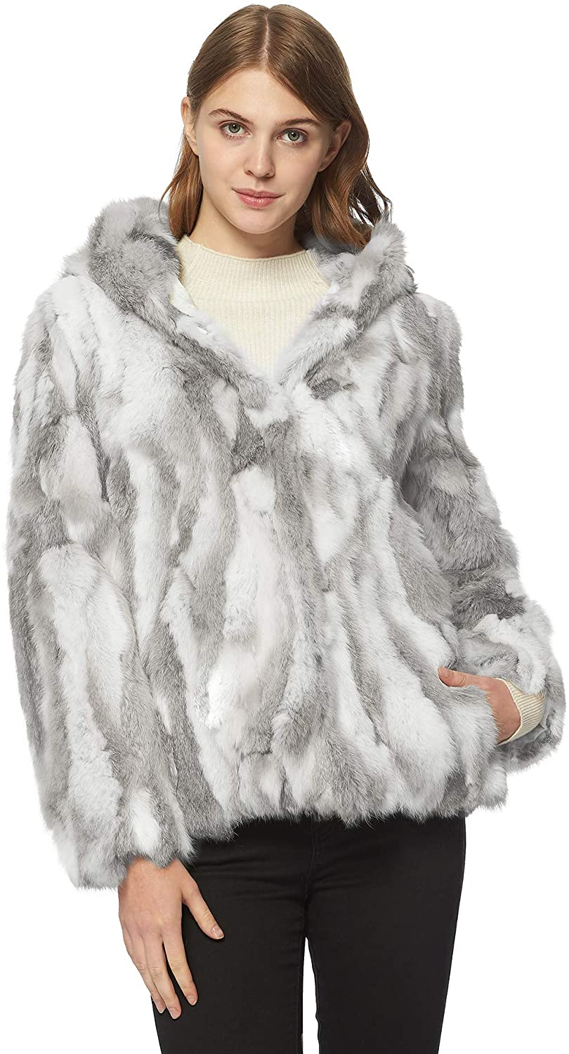 Fur Story Womens Genuine Rabbit Fur Coat for Winter Thick Warm Fur Jacket