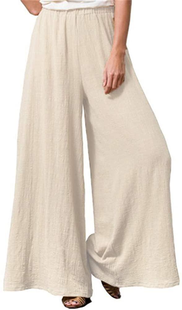 GUOLEZEEV Wide Leg Pants for Women Summer Elastic Waist Loose Lounge Palazzo Trousers