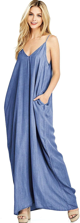 Love Stitch Women's Long Flowy Chambray Maxi Dress