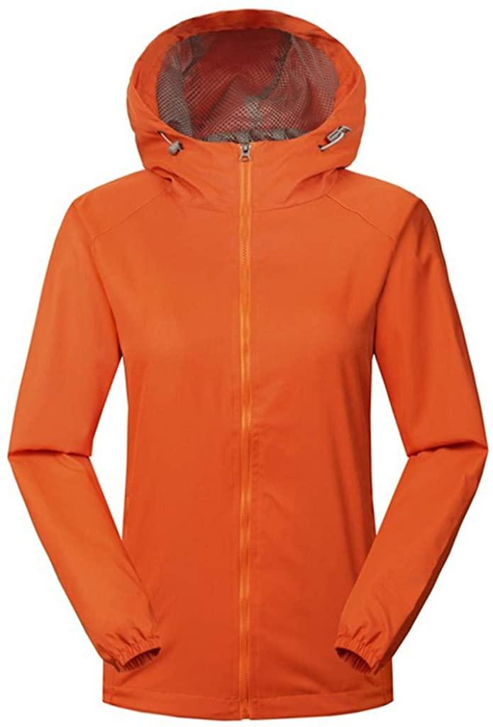 Women Solid Rain Outdoor Plus Size Waterproof Hooded Raincoat Windproof Jacket Coat