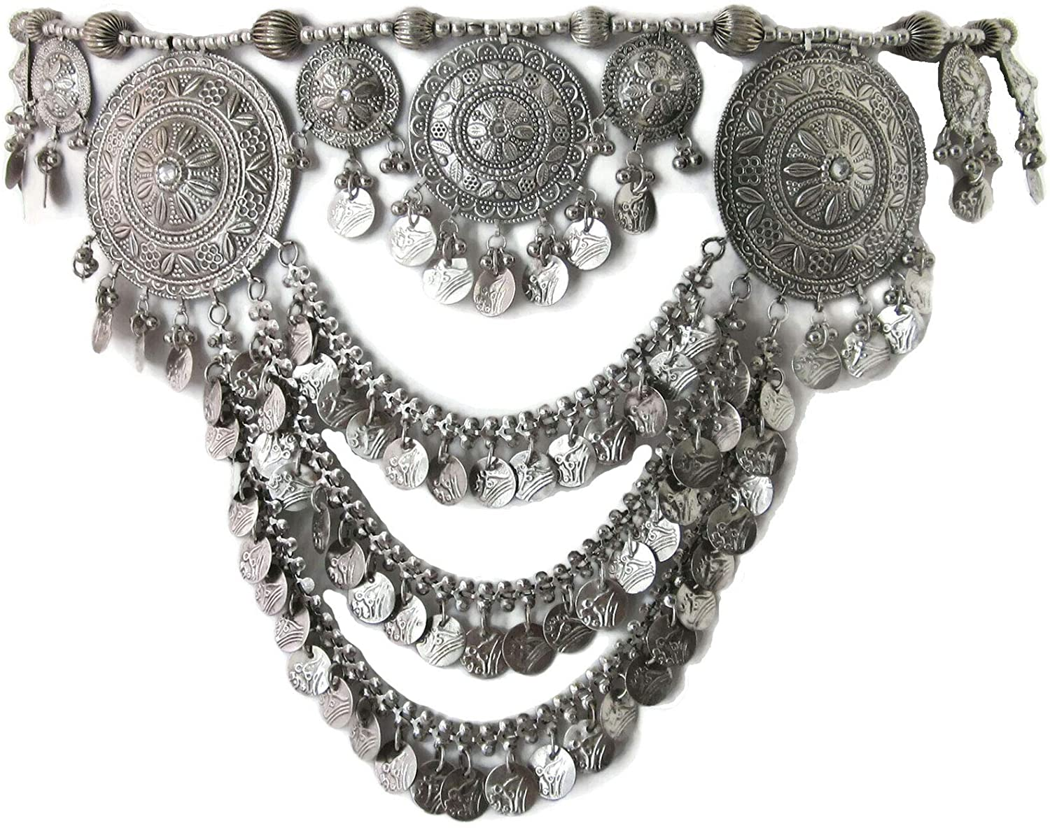 IndiaStop Unique Design Coin Fringe Tribal Belly Dance Belt | Gypsy Hippie Boho Music Festival Style Hip Waist Novelty Fashion Jewelry | Handmade Metal Medallions | One Size Belt with Ties