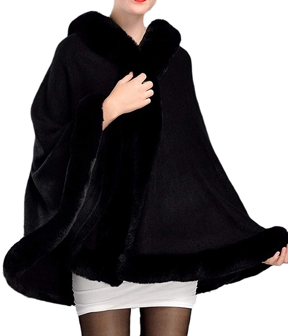 Helan Women's Luxury Faux Fur Cloak Cape Coat Simple Faux Fur Shawl Wrap