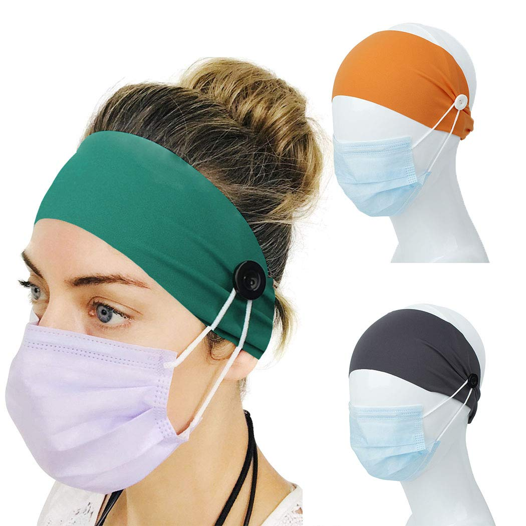 Bmirth Button Headbands Green Elastic Yoga Sports Hairbands Headwraps Ear Protection Holder Bandeau for Nurses and Women(Pack of 3)