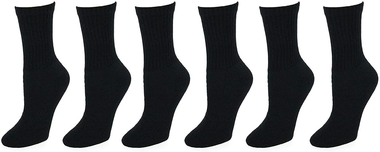 Lightning Womens Crew Sport Cotton Blend Socks 6 Pair Value Pack