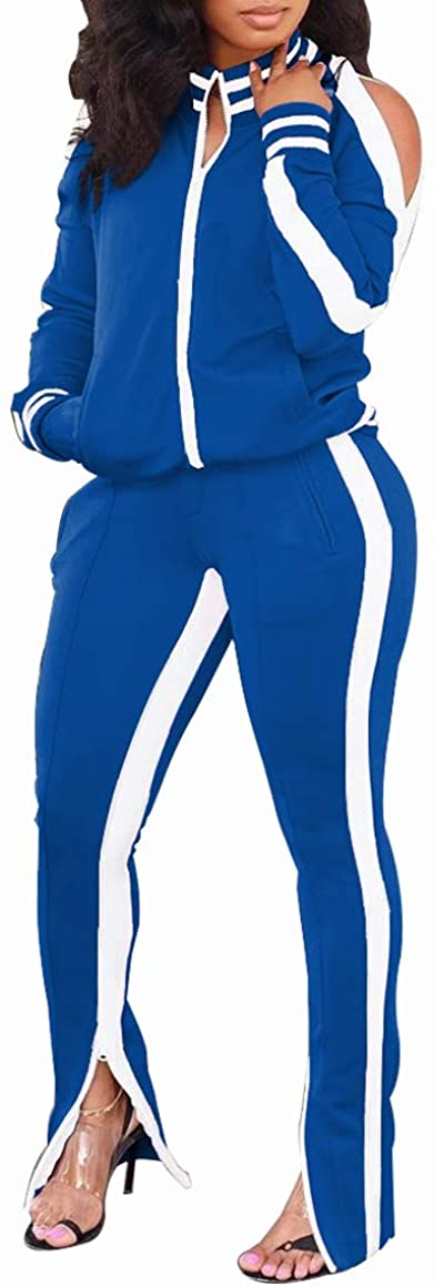 Women Tracksuit Set 2 Pieces Outfits - Cold Shoulder Stripes Tricot Tack Jacket and Jogger Pants