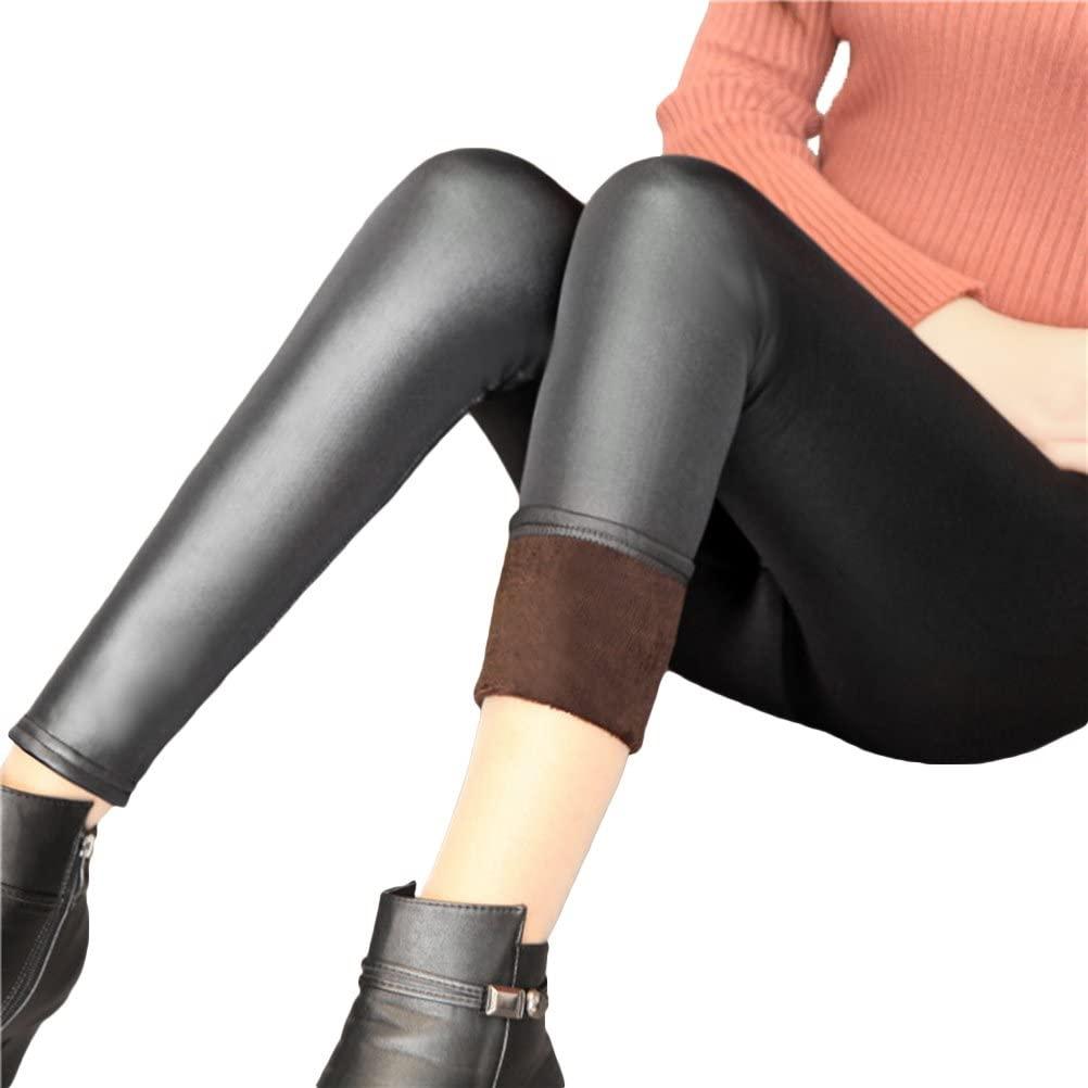 TINKSKY Women Winter Leather Leggings Warm Thick Faux Velvet Pants Slim Trousers (Black)