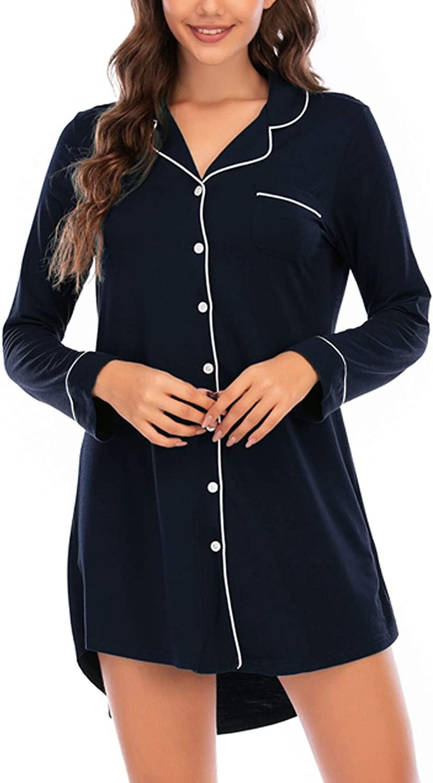 Samring Women's Nightshirt Long Sleeve Button Down Nightgown V-Neck Boyfriend Sleepwear Pajama Dress
