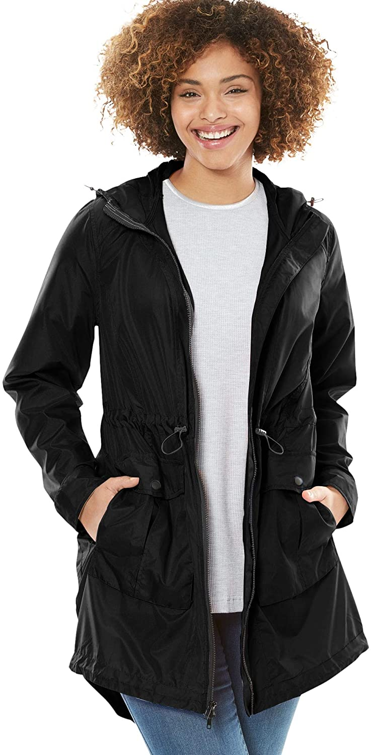 Woman Within Women's Plus Size Packable High-Low Raincoat