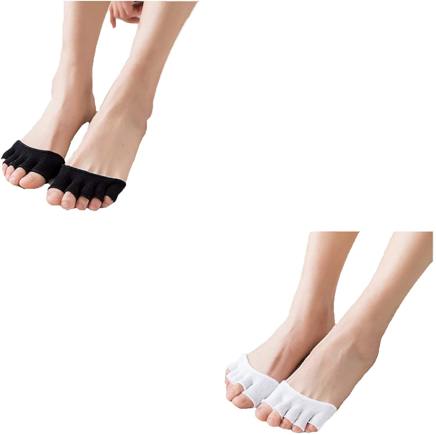 seven wolves Half-Toe Five-Toes Socks Plus Cotton Sweat-Absorbed Forefoot Half Palm-Toe Anti-Skid Stealth Socks,6 Pairs