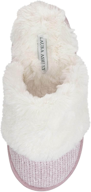 Laura Ashley Ladies Chenille & Faux Fur Scuff W/Memory Foam Slippers