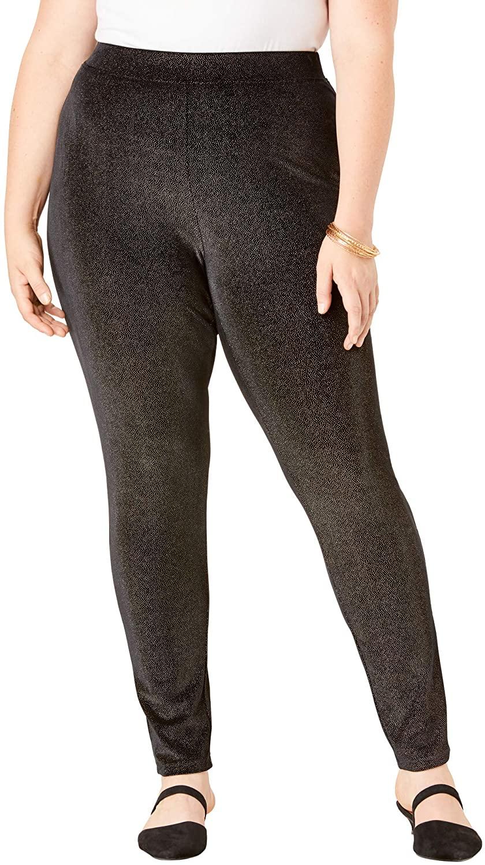 Roamans Women's Plus Size Glittery Velour Legging Stretch Pants