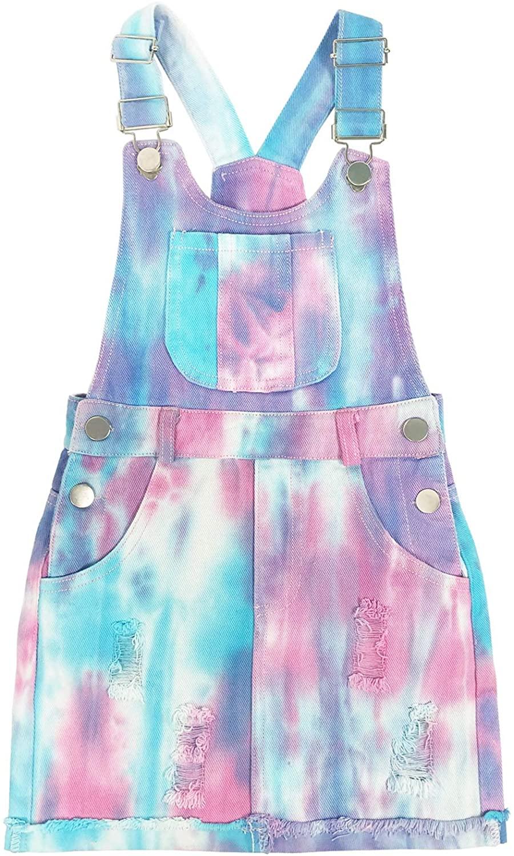 4-10T Little&Big Girls Suspender Overalls Star Denim Dress