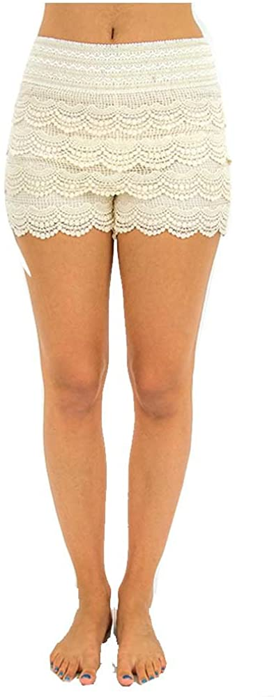 TD Collections Women's Elastic Waist Tiered Crochet Lace Scallop Hem Casual Mini Shorts