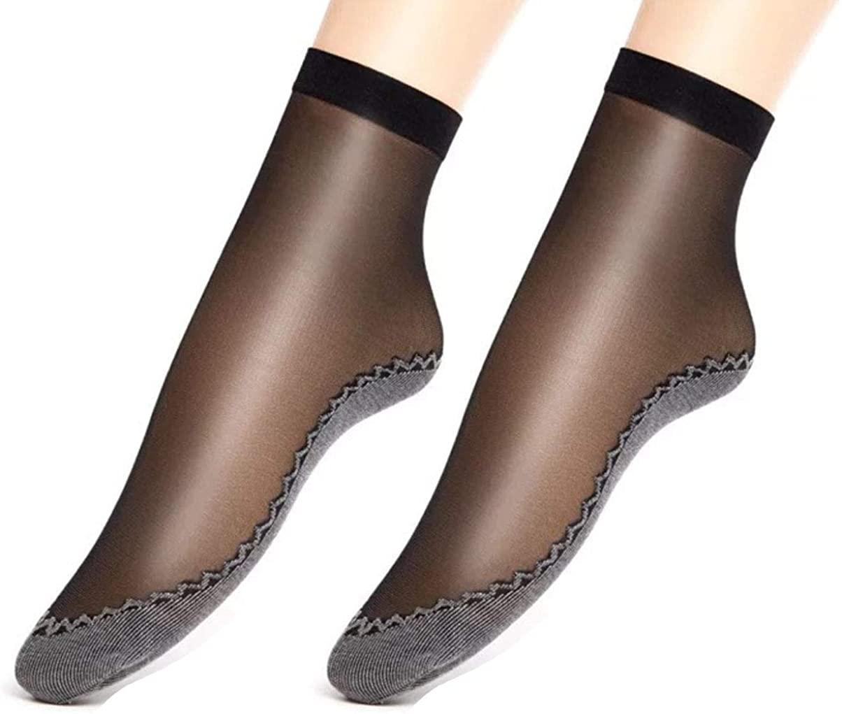 Womens Transparent Socks Sheer Silky Socks See Through Ankle Socks 10 Pairs