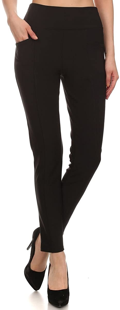 LA12ST Women's Straight Pant Trouser Stretch Skinny Solid Zipper Casual Business Office Leggings Brand