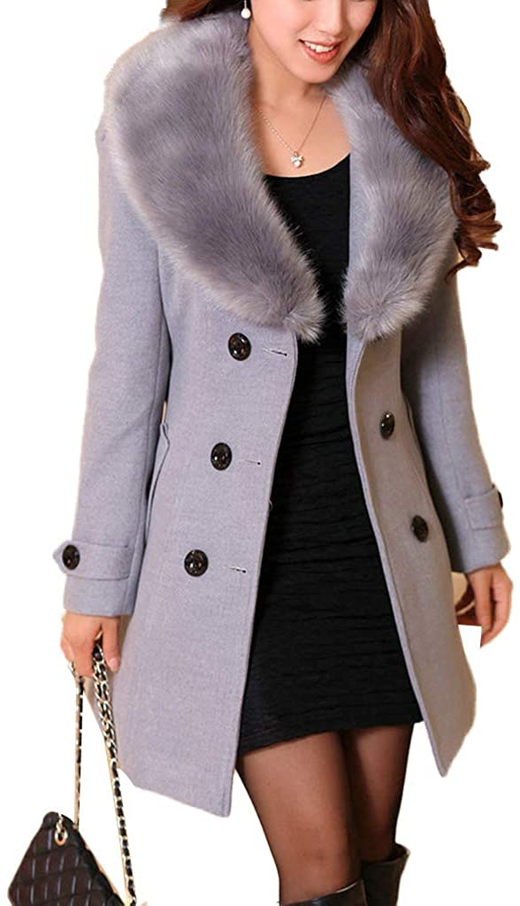 zhiounny Women's Winter Warm Double Breasted Mid-Long Coat Slim Long Sleeve Solid Color Outerwear