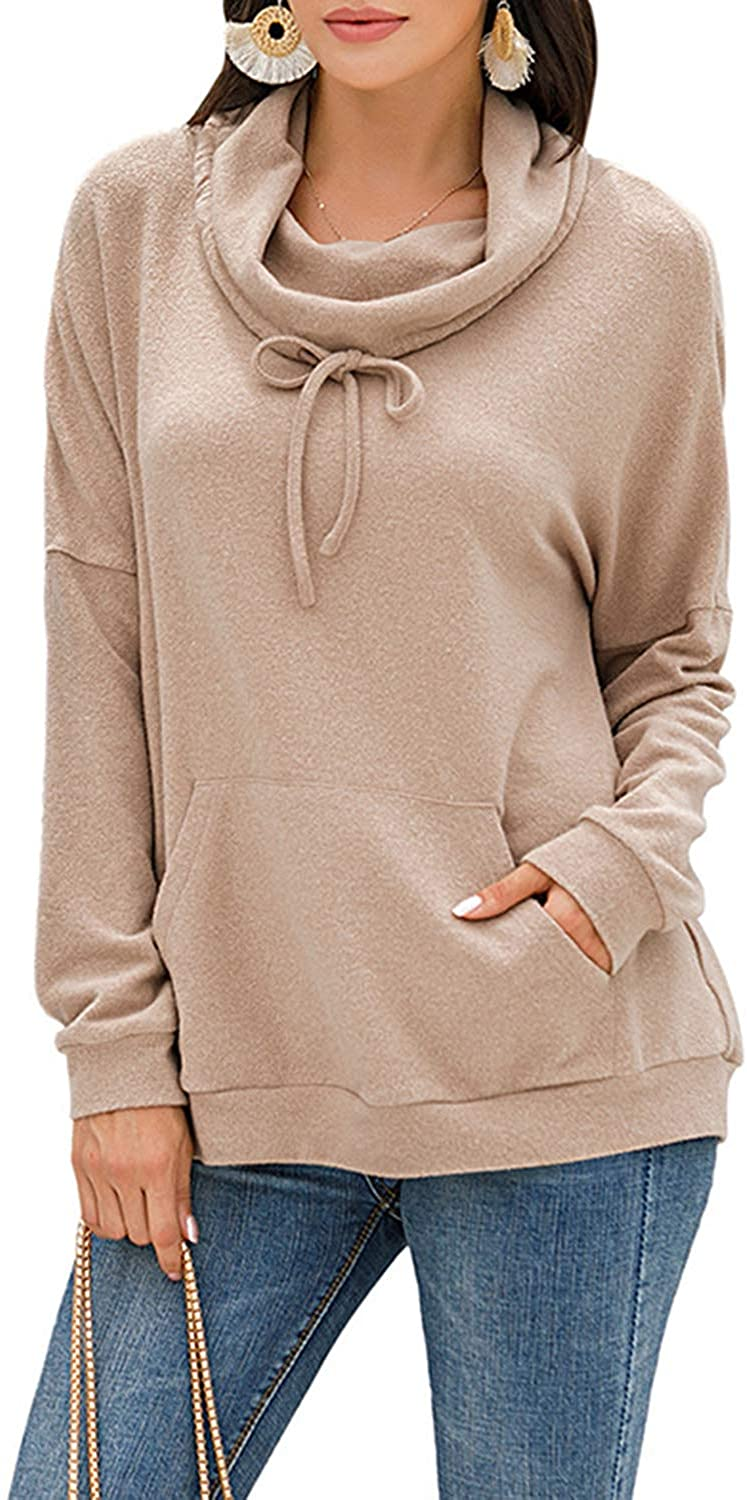 Zaxicht Cowl Neck Pullover Sweatshirts for Women, Casual Fuzzy Warm Sherpa Fleece Loose Blouse Tunic Tops with Pockets