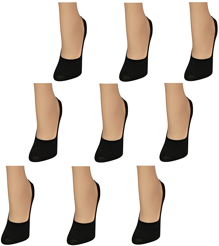Bright Star Womens9 Pack Thin CasualNo Show Socks Non Slip Flat Boat Line-Sock size 9-11, fits Shoe 5-9