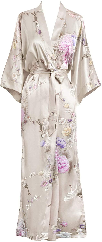 KIM+ONO Women's Satin Kimono Robe Long - Floral