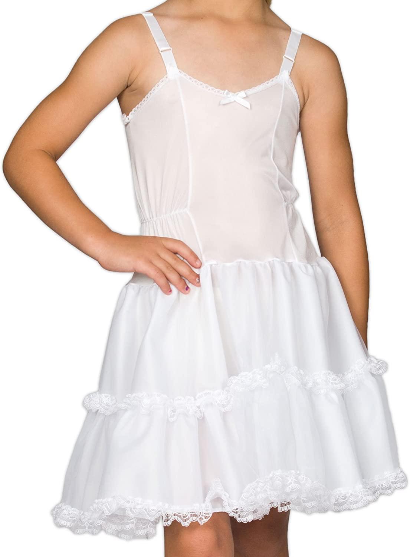 I.C. Collections Girls White Bouffant Slip Petticoat - Lace Embellished, 8-14