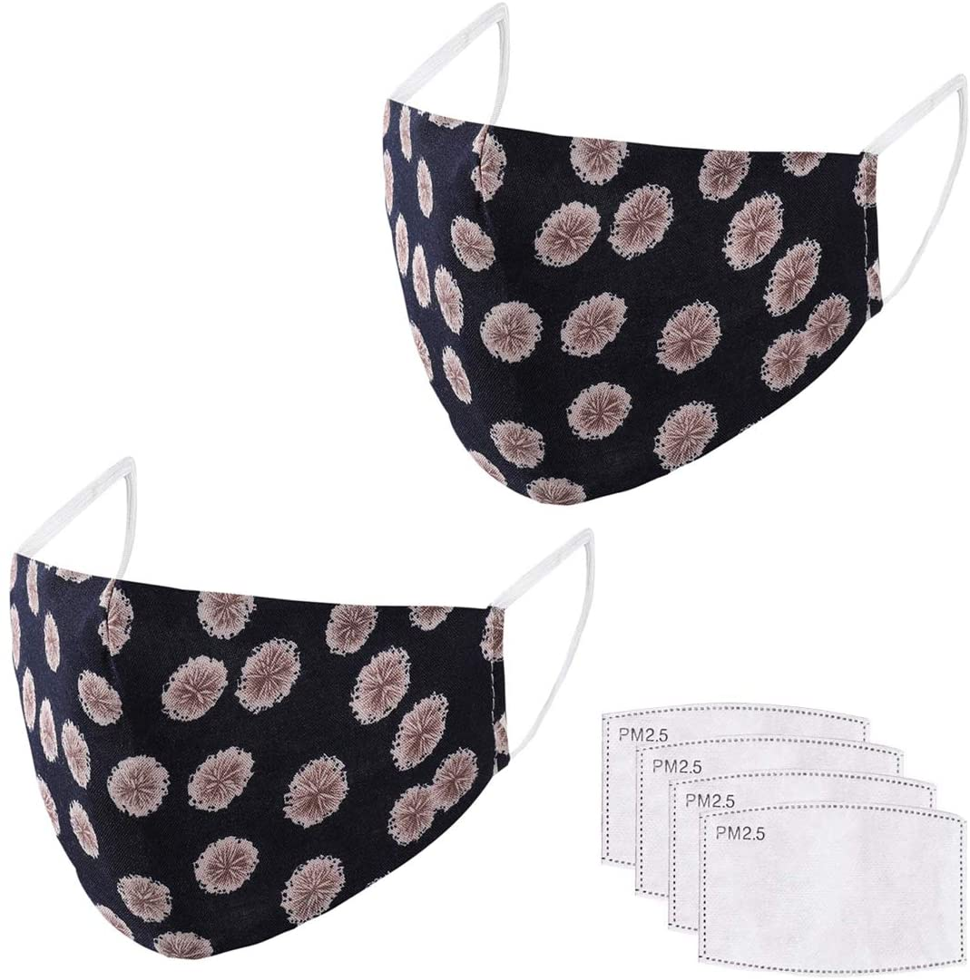 LivaClean 2 Pack Jen Lapidus Series Face Cover with 4 PM2.5 Active Carbon Filters - Print Floral Fashion Outdoor Breathable Mouth Protection Unisex Washable (2, Florence - Navy)