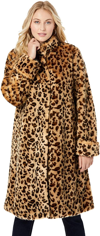 Jessica London Womens Plus Size Faux Fur Swing Coat