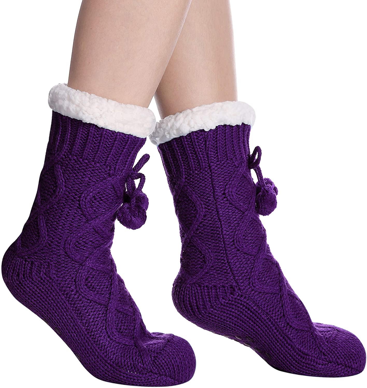 DYW Women's Fuzzy Slipper Socks Soft Winter Thermal Fleece Lining Cozy Non Slip Warm Socks