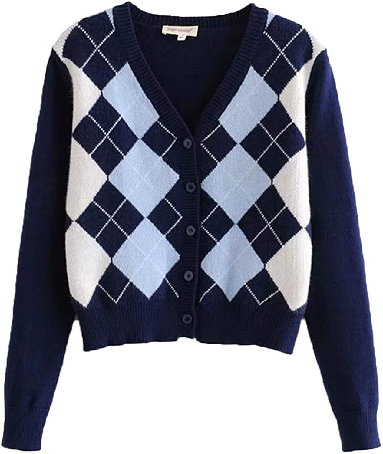 YUESUO Womens Cardigans Sweaters Casual Diamond Check Knit Coat Long Sleeve Button Down Crop Tops.