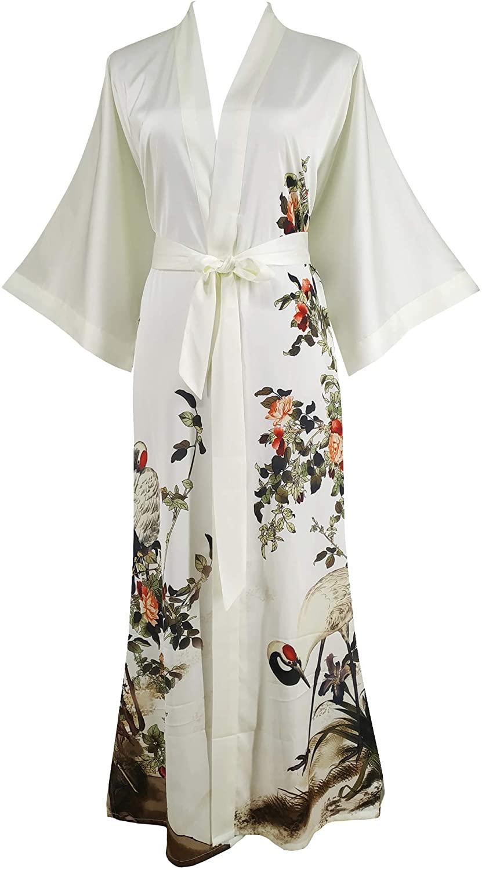 Ledamon Women's Kimono Robe Long - Classic Pocket Floral Bathrobe Nightgown