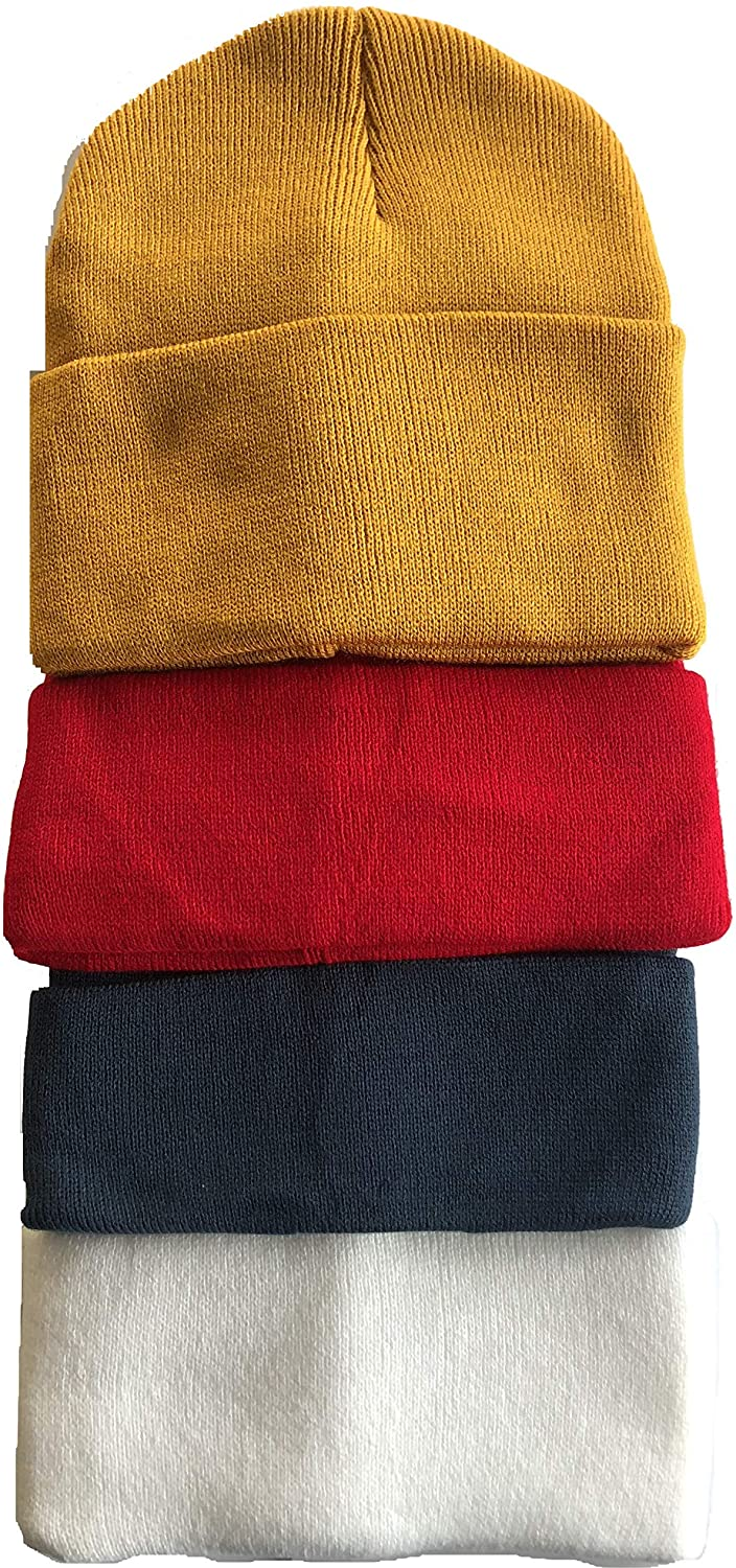 Men's 4 Pack Knit Winter Hat Beanie Thick Skull Cap Foldover Cuffs