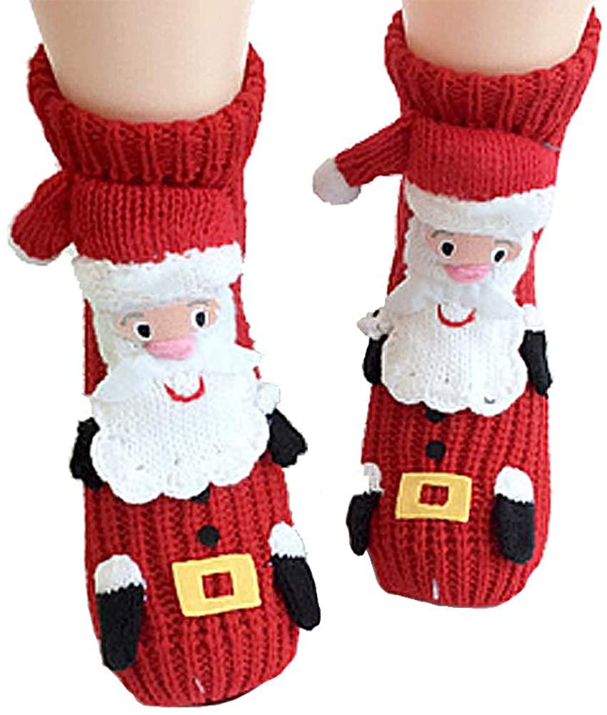 Slipper Socks for Women Knitting Cute Animal Dog Socks Non Slip Christmas Sock Gift