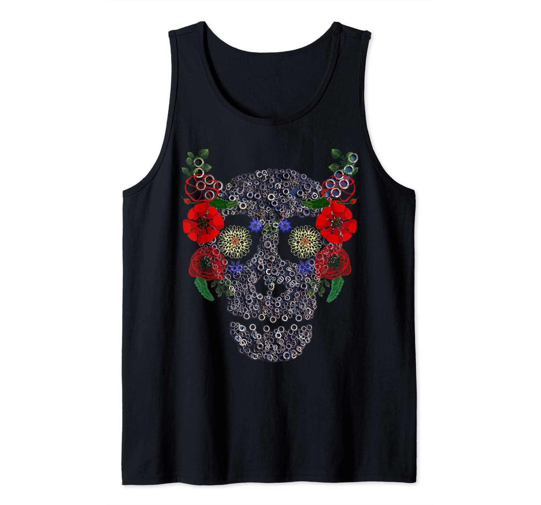 Skull & Flowers - Spooky Floral Mechanical Halloween Skull Tank Top