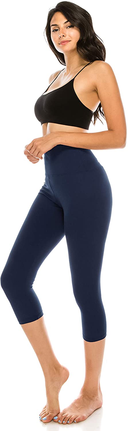 ALWAYS Women Yoga Capri Leggings - Super High Waisted Premium Soft Stretch Solid Workout Fitness Yoga Pants
