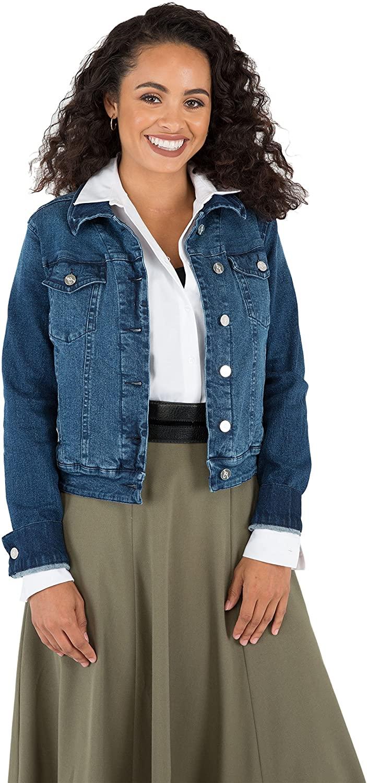 Poetic Justice Curvy Women's Dark Blue Antique Wash Denim Jackets