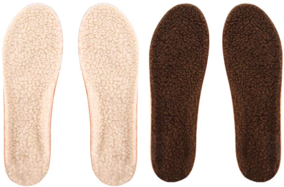 Holibanna 2 Pairs Winter Cozy Thick Fleece Wool Insoles Warm Fluffy Fleece Replacement Insoles for Shoes Boots Slippers (43-46)