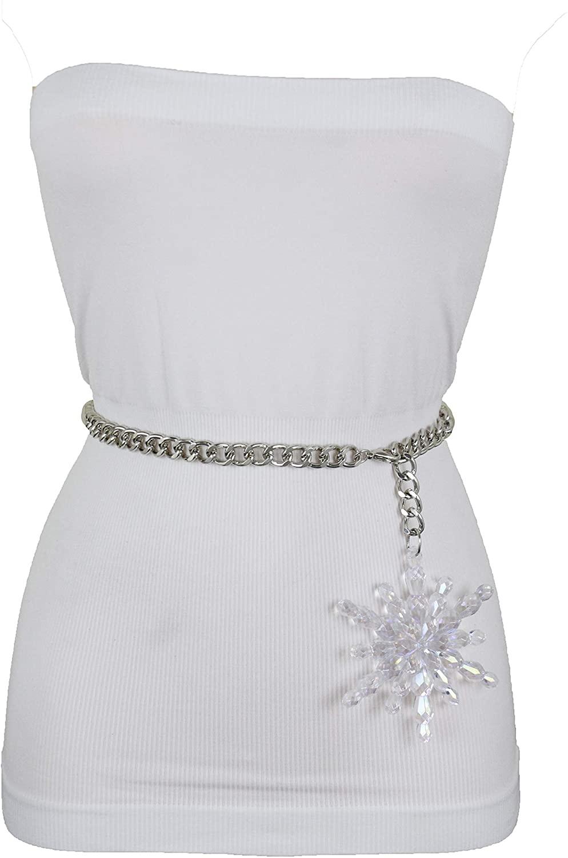 TFJ Women Fashion Belt Hip High Waist Silver Metal Chain Holidays Snowflake Buckle XS S M