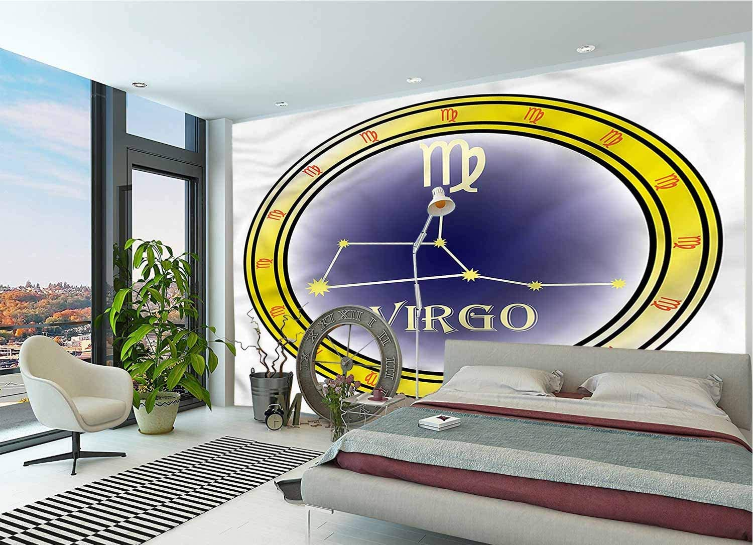 LCGGDB Zodiac Virgo Large Wall Mural,Constellation Sign Self-Adhesive Large Wallpaper for Office Kids Bedroom Nursery Family Decor-144x100 Inch