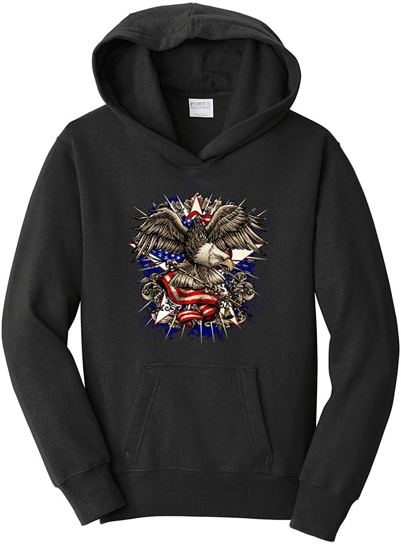 HARD EDGE DESIGN Boy's Youth Patriotic Eagle and Flag Hooded Sweatshirt, Large, Black